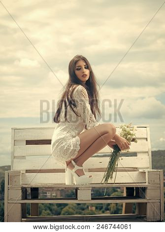 Beauty Fashion Model Girl. Fashion Look. Fashion Woman With Floral Bouquet. Fashion, Beauty, Look, M