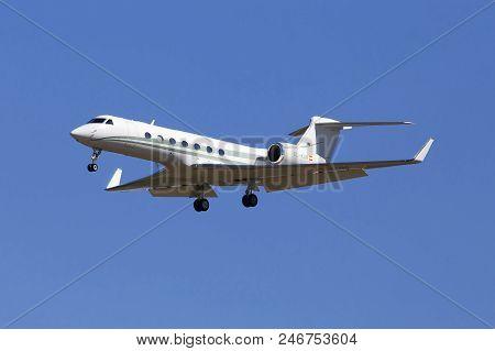 Borispol, Ukraine - May 26, 2018: Ec-kum Tag Aviation Espania Gulfstream Aerospace G-v-sp Gulfstream