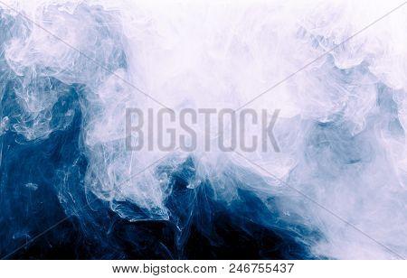 White Splash Watercolor White Smoke Water Abstract Black Background.