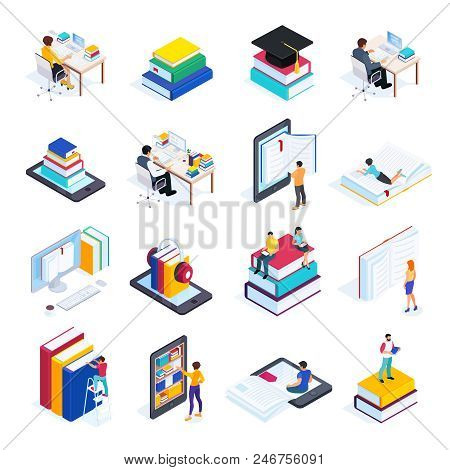 Isometric Concept E-learning. 3d Icons Of Online Education With People Reading Books And Using Smart