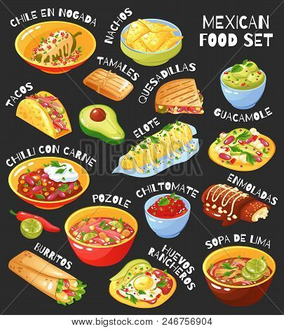 Traditional Mexican Food Menu Items Set With Tacos Burritos Chili Con Carne Guacamole Chalkboard Bac
