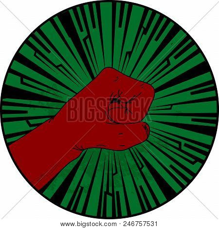 Vintage Grunge Green Circular Border With Hand Drawn Profile Of Red Fist