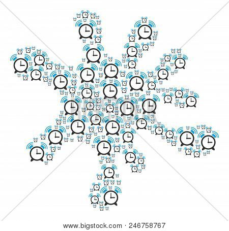 Blot Shape Built With Buzzer Icons In Variable Sizes. Abstract Vector Splat Illustration. Buzzer Ico