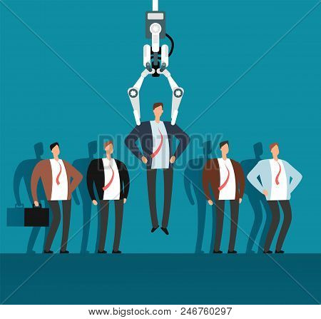 Robot Recruiter With Industrial Claw Choosing Man From Selected Group Of People. Recruitment, Employ