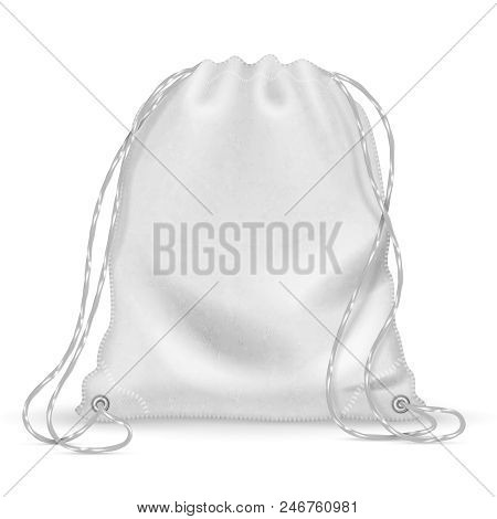 White Sports Backpack, Backpacker Cloth Bag With Drawstrings. Isolated Vector Template. Accessory Kn