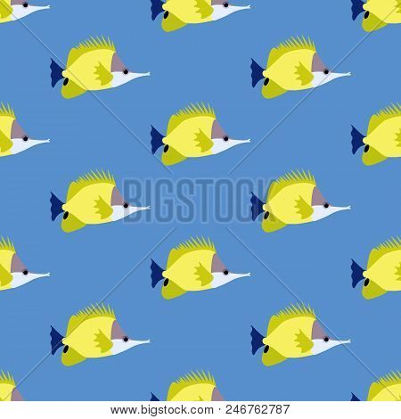 Yellow Longnose Butterflyfish Seamless Pattern On The Blue Background. Vector Illustration