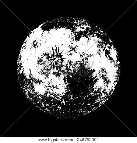 Full Moon Against Hand Drawn On Black Background. Drawing Of Celestial Body, Lunar Astronomical Obje