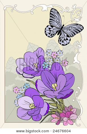 Crocus Bouquet With Butterfly