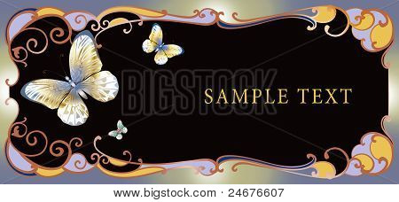 Horizontally Butterfly Invitation With Color Frame And Place For Text
