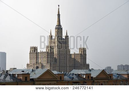 Moscow skyline. The Ministry of Foreign Affairs of Russia main building stalinist skyscraper shown during summer rain. Capital of Russia poster