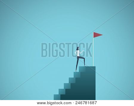 Business Ambition And Success Vector Concept. Ambitious And Successful Business Woman Climbing To To