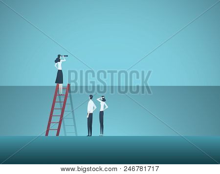 Business Leader And Visionary Vector Concept. Business Woman Standing On Top Of Ladder As Leader Of