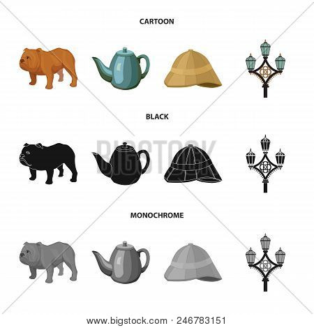 Breed Dog, Teapot, Brewer .england Country Set Collection Icons In Cartoon, Black, Monochrome Style