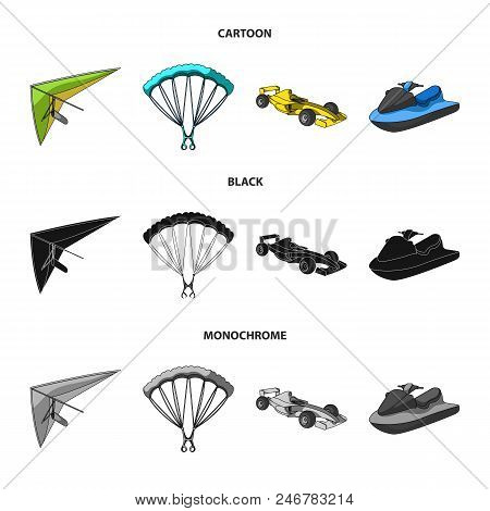 Hang Glider, Parachute, Racing Car, Water Scooter.extreme Sport Set Collection Icons In Cartoon, Bla