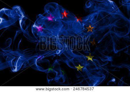 Europe Gay Smoke Flag , Europe Flag, On A Black Background