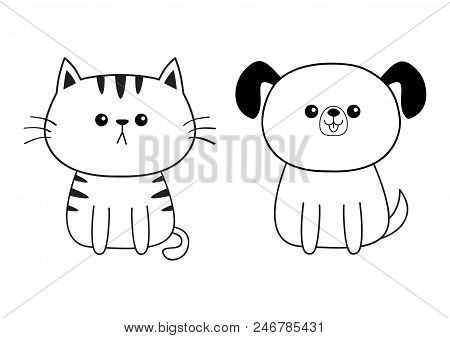 poster of Linear dog cat face head silhouette icon. Contour line. Cute cartoon sitting pooch kitty character. Kawaii animal. Funny baby puppy kitten. Love Greeting card. Flat design. White background. Vector