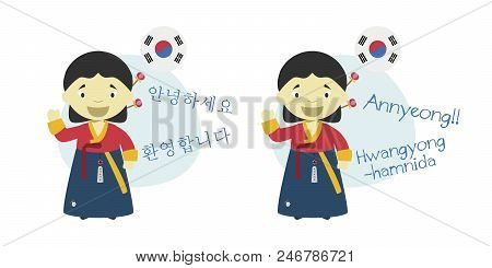Vector Illustration Of Cartoon Characters Saying Hello And Welcome In Korean And Its Transliteration