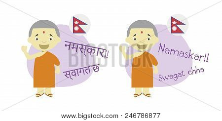 Vector Illustration Of Cartoon Characters Saying Hello And Welcome In Nepali And Its Transliteration