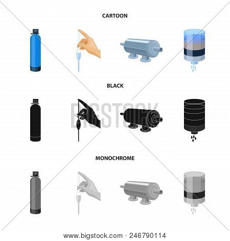 Purification, water, filter, filtration .Water filtration system set collection icons in cartoon, black, monochrome style vector symbol stock illustration . poster