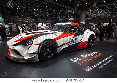 GENEVA, SWITZERLAND - MARCH 17, 2018: Toyota GR Supra raccing car showcased at the 88th Geneva International Motor Show.
