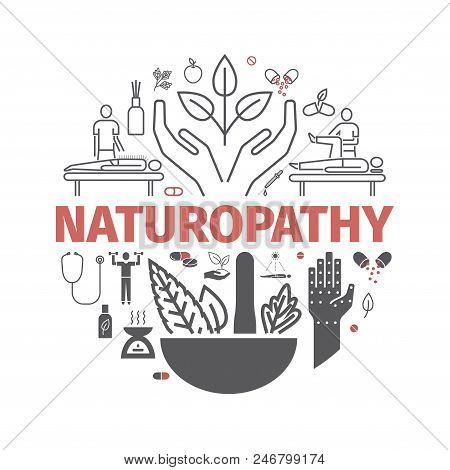 Alternative Medicine Icons Set. Naturopathy Sign. Vector