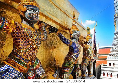 Giant Statues Of The Grand Palace Wat .emerald Buddha Temple .wat Phra Kaew  Bangkok Thailand.thai T