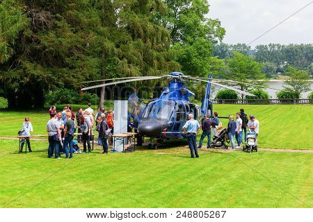 Helicopter Of The Bundespolizei At Villa Hammerschmidt In Bonn, Germany