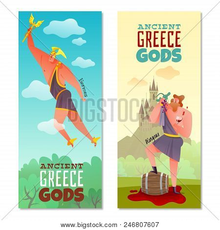 Ancient Greece Gods Vertical Banners Flying Hermes And Dionysus With Grape And Glass Wine Isolated V