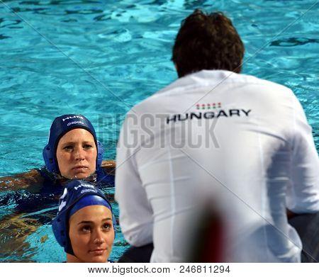Budapest, Hungary - Jul 16, 2017. The Hungarian Women Waterpolo Team (antal Dora, Szilagyi Dorottya)