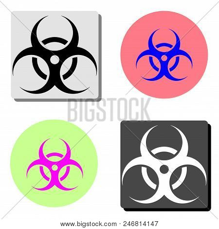 Biological Hazard. Simple Flat Vector Icon Illustration On Four Different Color Backgrounds