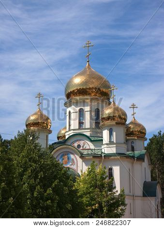 orthodox church with golden domes. Saint-Petersburg Russia