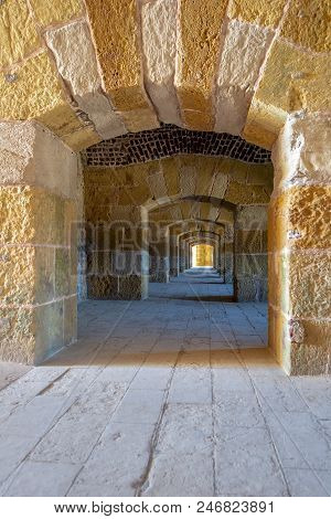 Stoned Arched Passage Under Kayet Bey Castle, Alexandria, Egypt