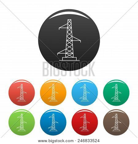 Voltage Pole Icon. Outline Illustration Of Voltage Pole Vector Icons Set Color Isolated On White