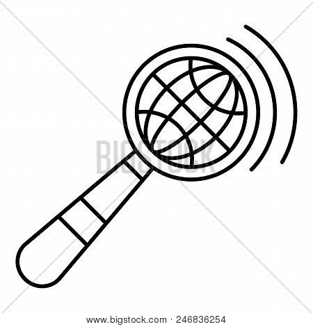 Magnified Global Glass Icon. Outline Illustration Of Magnified Global Glass Vector Icon For Web Desi