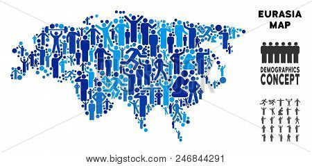 Vector Population Eurasia Map. Demography Concept Of Eurasia Map Done Of People With Variable Positi