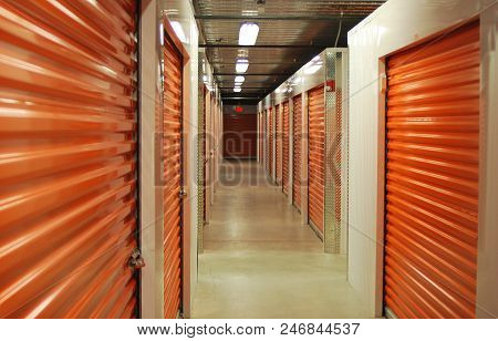 Inside A Self-storage Unit Hallway Leading To Other Units