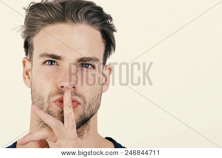 Man With Fair Hair On White Background, Copy Space. Body Language And Emotions Concept. Macho With C