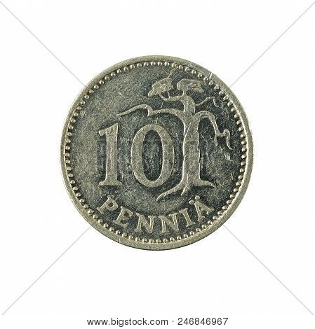 10 finnish penni coin (1986) obverse isolated on white background poster