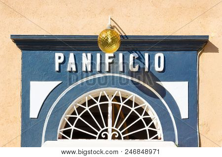 Marciana Marina (li), Italy - August 09, 2016: Old Bakery Storefront (perspective Corrected)