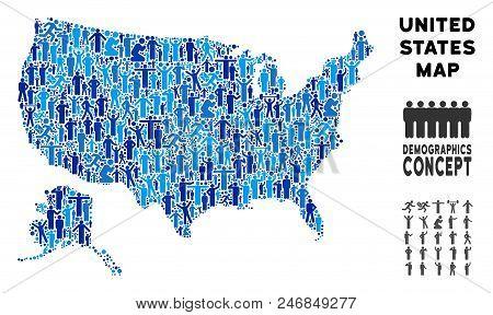 Vector Population Usa With Alaska Map. Demography Composition Of Usa With Alaska Map Designed Of Peo