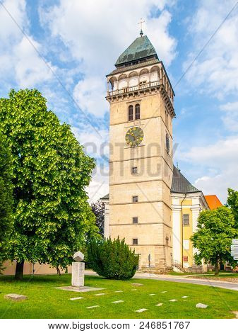 Church Of Saint Lawrence And Sugar Cube Monument, Dacice, Czech Republic.