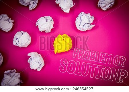 Writing Note Showing  Problem Or Solution Question. Business Photo Showcasing Think Solve Analysis S