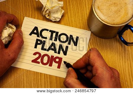 Handwriting Text Writing Action Plan 2019. Concept Meaning Challenge Ideas Goals For New Year Motiva