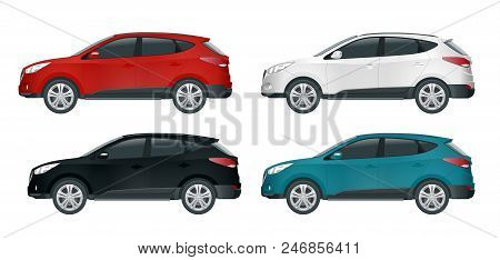 Car Vector Template On White Background. Compact Crossover, Cuv, 5-door Station Wagon Car. Template