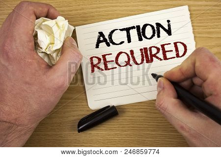 Handwriting text Action Required. Concept meaning Important Act Needed Immediate Quick Important Task Text   poster