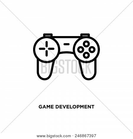 Game Development Vector Icon On White Background. Game Development Modern Icon For Graphic And Web D