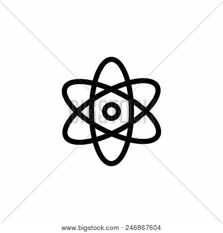 Atom Science Vector Icon On White Background. Atom Science Modern Icon For Graphic And Web Design. A
