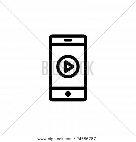 Mobile Video Player Vector Icon On White Background. Mobile Video Player Modern Icon For Graphic And