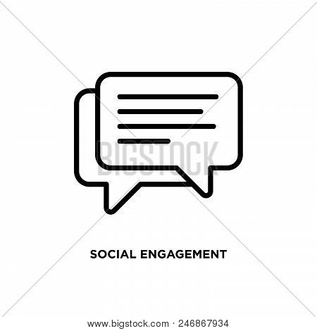 Social Engagement Vector Icon On White Background. Social Engagement Modern Icon For Graphic And Web