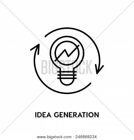 Idea Generation Vector Icon On White Background. Idea Generation Modern Icon For Graphic And Web Des